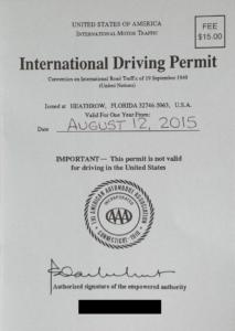 International driver permit USA